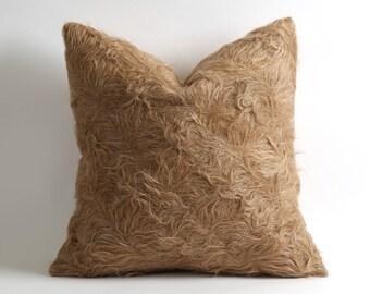 Farmhouse rustic home decor 20x20 inch natural goat hair fur kilim throw pillow cover // farm decor pillows