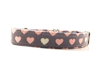 Grey and Pink Heart Dog Collar - Buckle or Martingale