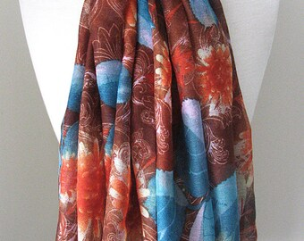 Brown Infinity Scarf with flowers & blue leaves - Long and light weight for spring and fall