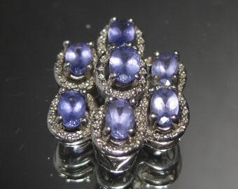 Vintage Sterling Silver Amethyst Gemstone Cluster Pendant