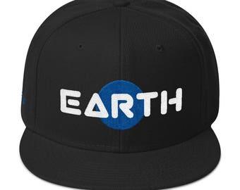 Earth Snapback Hat - Acrylic/Wool Flat Bill Snapback Hat