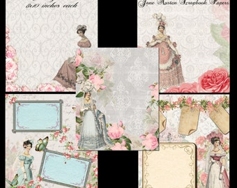 Instant Download - Jane Austen Scrapbook Paper Pack -  Printable Digital Collage Sheet - Digital Download
