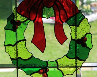 Stained glass large Christmas wreath suncatcher/ wall hanging