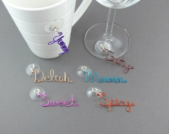 Suction Cup Glass Charm - Stemless Wine Glass Charms - Wire Writing Beverage Glass Markers - Drink Markers