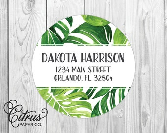 Return Address Labels Tropical Monstera Palm Leaves Beach Round Circle Glossy Matte 2 Inch Beach Wedding Destination Wedding Personalized