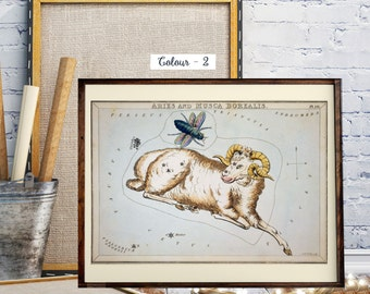 Aries and Musca Borealis Zodiac Prints, Antique World Map, Hand-Coloured Celestial Star Charts,  Old Solar System Map