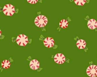 Windham Fabrics - Sugarplum Collection - Peppermints in Green