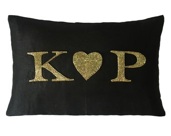 Gifts for Her Personalized Monogrammed Decorative Throw Pillow Cover Black Silk With Gold Sequins Beads Cushion Valentine Gift Wedding Gift