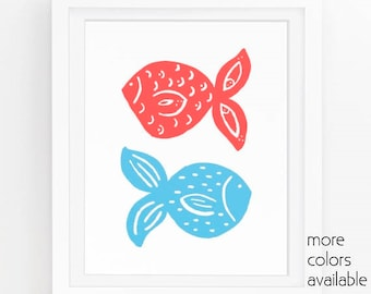 Coral and turquoise wall art, Pink and blue, Blue fish, Tropical art, Sea life wall art, Fish decor, Ocean printable  5x7, 8x10, 11x14  220
