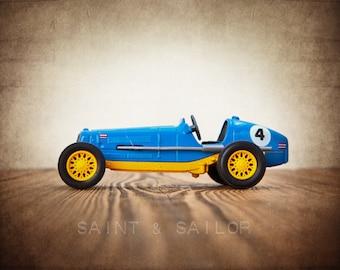 Blue and Yellow No.4 Vintage Race Car, One Photo Print, Boys Room decor, Vintage Car Prints