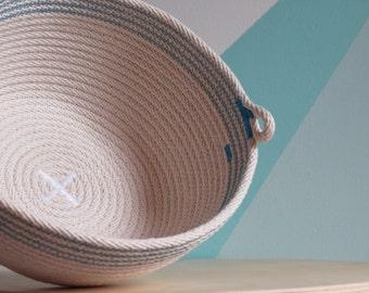 Rope bowl- Custom size - Blue band