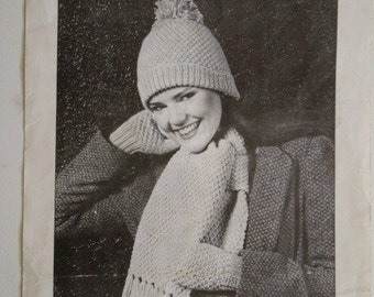 Knitted Hat, Mitts and Scarf Set Pattern by Beehive No. 334 toque mittens knit