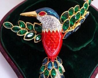 vintage Nolan Miller Jacobin hummingbird brooch pin   Glamour Collection 1990s   hand enameled   Swarovski stones   very rare bird
