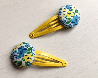 Ditsy Print Button Hairclips
