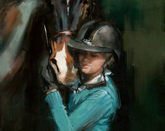 Horse and Girl Portrait Giclée Fine Art Print
