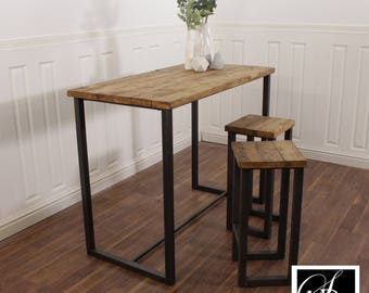 Breakfast Bar Worktop Kitchen Table Stool Solid Wood Set Industrial  Reclaimed Pine Oak Island Butchers Block