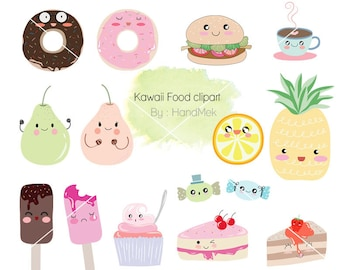 Kawaii food set Clipart , cute Kawaii PNG file-300 dpi