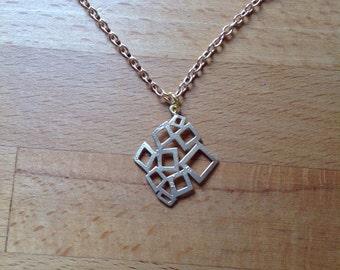 Abstract irregular matte gold filigree necklace