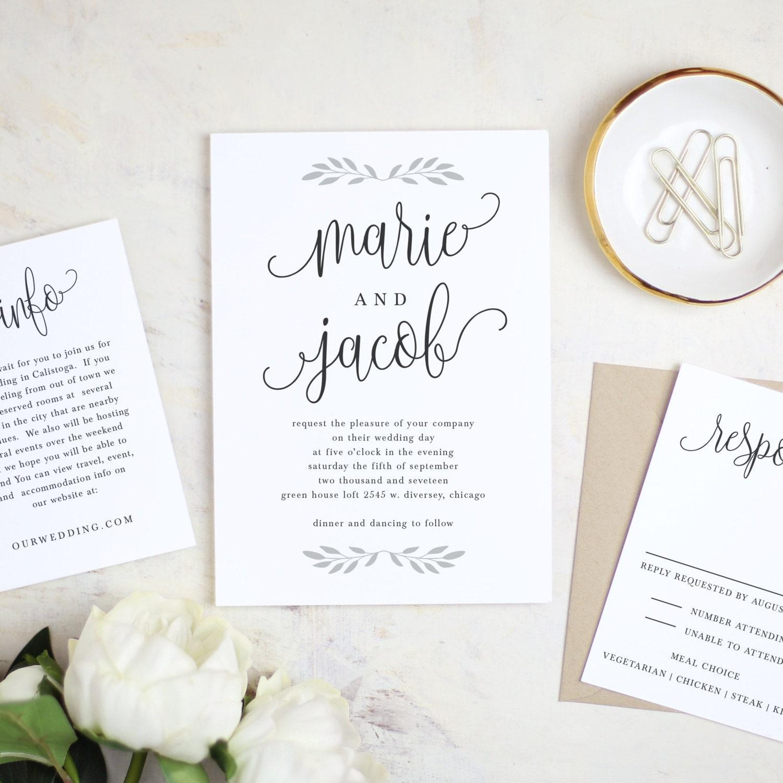 Printable Wedding Invitation Template Rustic Calligraphy