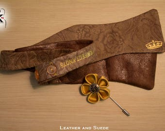 """PKs """"Leather and Suede"""" Freestyle Bow Tie"""