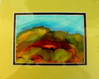 Abstract painting alcohol ink original 5x7 on yupo  paper #133
