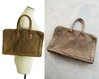 vintage 80s Printed Suede Tote Bag - 1980s Large Suede Tote Bag Beige Herringbone Suede Purse