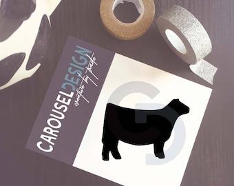 Show Cattle Heifer - Profile Solid Vinyl Sticker