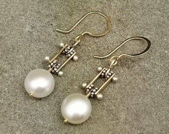 Pinned Pearl Earrings Mixed Metal Artisan Jewelry Kinetic Anniversary Birthday Prom Graduation