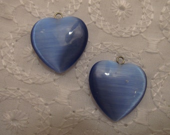 20x20mm, Cat's Eye Glass, Puffy Heart Pendant or Charm, Blue, Open Loop - Available Individually & in Pairs