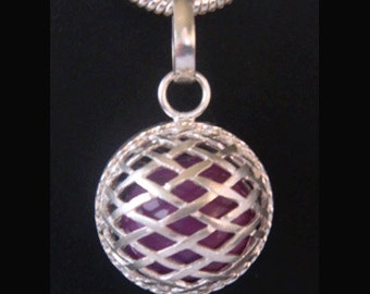 Harmony Ball with Purple Chime Ball in a Stylish Sterling Silver Cage | Bola Necklace, Pregnancy Gift, Bola de Grossesse, Angel Caller 342