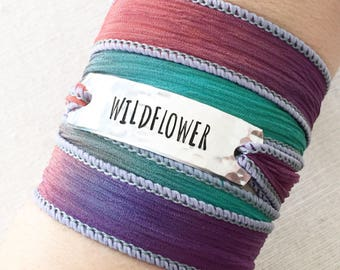 Wildflower Boho Wrap Bracelet, Nature Lover Gift, Nature Jewelry, Nature Girl, Nature Bracelet, Flower Bracelet, Wild Jewelry