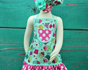 Kids Apron, Child's Apron Set, Children's Apron, Girls Apron, Aprons for Girls, Ruffle Apron, Cupcake Apron