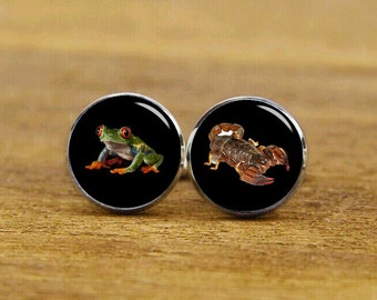frog cufflinks, scorpion cufflinks, custom specimen cuff links, custom insect cufflinks, square cufflink, square tie clip, wedding cufflinks