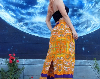 1960s psychedelic hippie SKIRT spirals mandala maxi skirt festival boho vintage // size: M / S