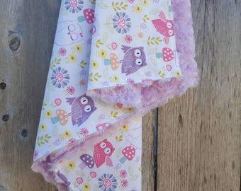 Baby girl blanket-lavendar rosebud minky-pink and lavender owls nursery-cotton baby blanket-shower gift-newborn baby girl blanket