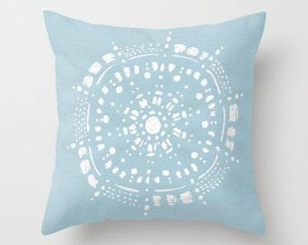 Pastel Blue Mandala Throw Pillow, blue white pillow, pastel blue pillow, blue throw pillow, light blue pillow, blue mandala pillow