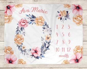 Baby Milestone Blanket, Watercolor Floral Blanket, Monthly Growth, Milestone Blanket, Personalized Blanket, Baby Name Blanket, Newborn Gift