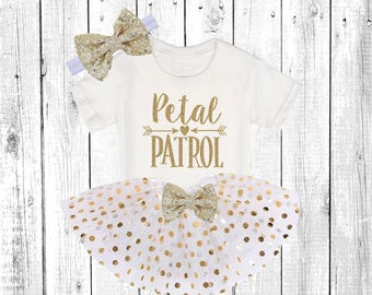 Petal Patrol. Flower Girl Shirt. Flower Girl Outfit. Flower Girl Tutu Outfit. ** In white and Gold **