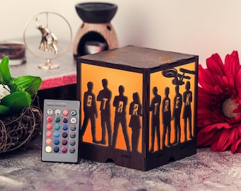 Star trek Gifts for him anniversary Gifts for him valentines Gift ideas for dad Nightlights for adults Wooden lamp table New gift ideas