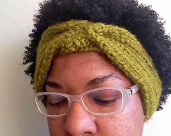Hand knit lime green chunky turban headband