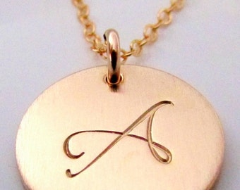Gold Initial Charm Necklace   Letter Charm Necklace   14K GF Letter Necklace   Personalized   LYLA by E. Ria Designs