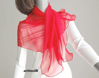 """Red Chiffon Sheer Small Scarf Coverup, Scarf for Girl, Petite Shoulder Wrap, Fire Engine, True Lipstick Red, S SX M 17x43"""", Artinsilk."""