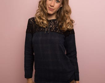 Lace blouse black and blue gingham