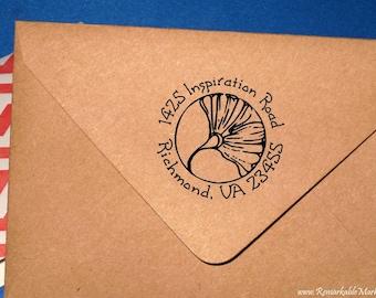 Self Inking Ginkgo Return Address Stamp Art Nouveau Ginkgo Leaf Art Deco Round Design Custom Wedding Address Label Rubber Stamp Ginko Gingko
