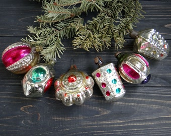 Glass Shiny Brite Ornaments set of 6 Christmas Ornament Silver Mercury Glass Vintage Christmas Tree Decoration Flashlight Bauble Soviet