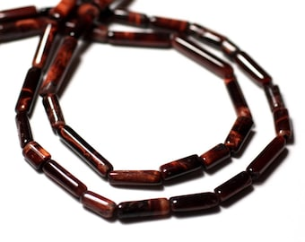 10pc - stone beads - Bull - red Tiger's eye Tubes 5-14mm - 8741140012295