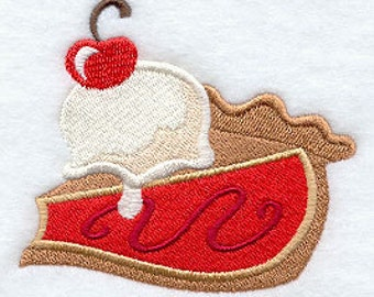 Whimsical Cherry Pie a la Mode Embroidered Flour Sack Hand/Dish Towel