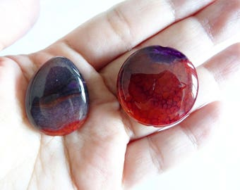 Set of 2 pearls in agate red, purple and Brown dragon vein