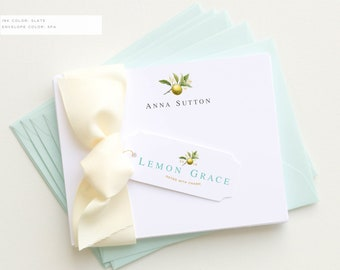 Personalized Stationery | Personalized Stationary | Botanical Note Cards | Lemon Notecards | Botanical Stationery | Thank You Cards
