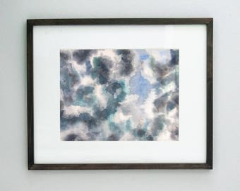 Abstract Thunderstorm Original Watercolor Painting, Clouds Large Artwork, Large Wall Art, Blue Sky Cloud Art, Dark Storm Clouds Painting